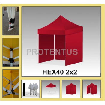Prekybinės palapinės (įvairių spalvų) iš plieno HEX40 2x2 su 4 sienelėm  ir KREPŠIU