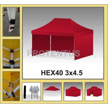 Prekybinės palapinės (įvairių spalvų) iš plieno HEX40 3x4,5 su 4 sienelėm ir KREPŠIU