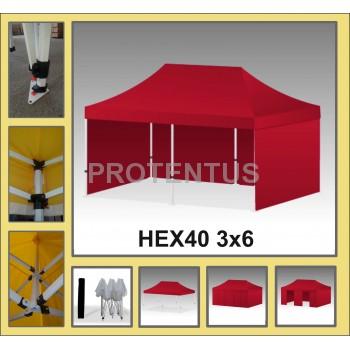 Prekybinės palapinės (įvairių spalvų) iš plieno HEX40 3x6 su 4 sienelėm  ir KREPŠIU