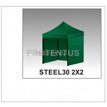 Prekybinės palapinės iš plieno STEEL30 2x2 su 3 sienelėm ir KREPŠIU