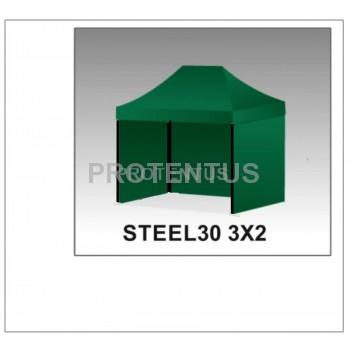 Prekybinės palapinės (įvairių spalvų) iš plieno STEEL30 3x2 su 3 sienelėm ir KREPŠIU