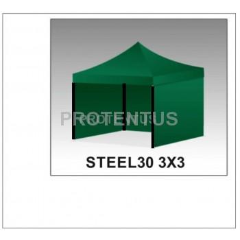 Prekybinės palapinės (įvairių spalvų) iš plieno STEEL30 3x3 su 3 sienelėm ir KREPŠIU