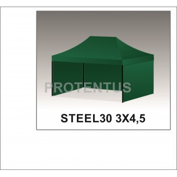 Prekybinės palapinės (įvairių spalvų) iš plieno STEEL30 3x4,5 su 3 sienelėm ir KREPŠIU