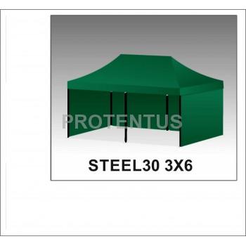Prekybinės palapinės iš plieno STEEL30 3x6 su 3 sienelėm ir KREPŠIU