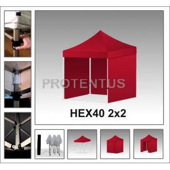 Prekybinės palapinės iš plieno HEX40 2x2 su 4 sienelėm
