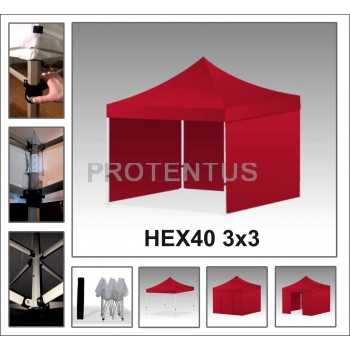 Prekybinės palapinės (įvairių spalvų) iš plieno HEX40 3x3 su 4 sienelėm ir KREPŠIU