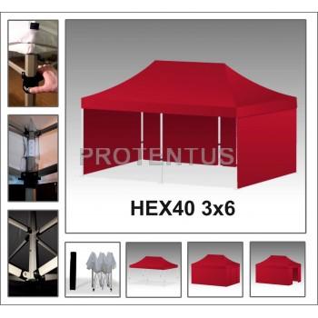 Prekybinės palapinės iš plieno HEX40 3x6 su 4 sienelėm