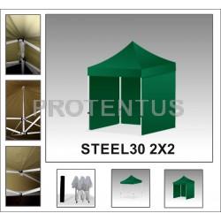 Prekybinės palapinės iš plieno STEEL30 2x2 su 3 sienelėm