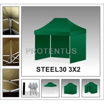 Prekybinės palapinės iš plieno STEEL30 3x2 su 4 sienelėm