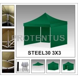 Prekybinės palapinės iš plieno STEEL30 3x3 su 4 sienelėm