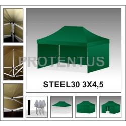 Prekybinės palapinės iš plieno STEEL30 3x4,5 su 4 sienelėm